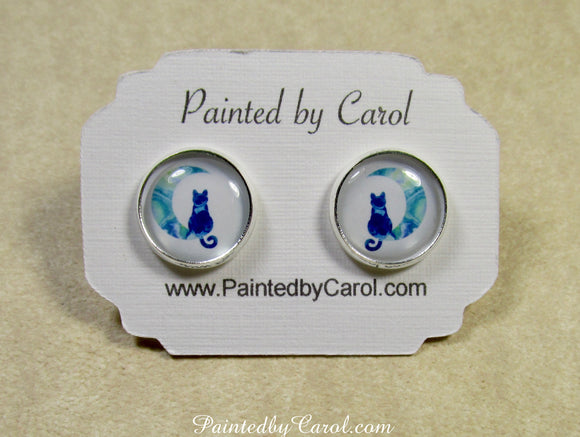 Blue Cat on the Moon Earrings