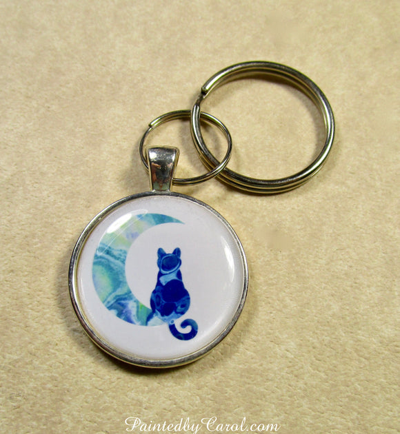 Blue Cat on the Moon Keychain