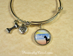 Boxer On Beach Bangle Bracelet