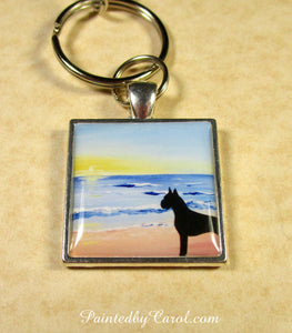 Boxer On Beach Keychain
