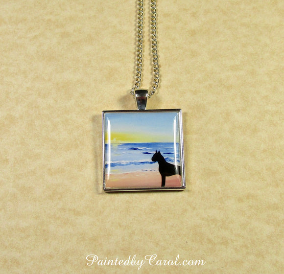 Boxer On Beach Pendant