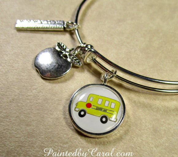 School Bus Bangle Bracelet