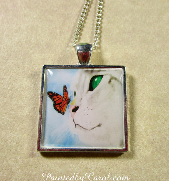 Gray Cat and Butterfly Pendant
