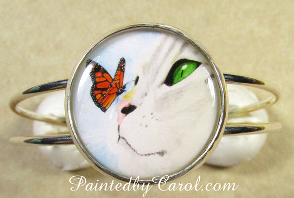 Gray Cat and Butterfly Cuff Bracelet