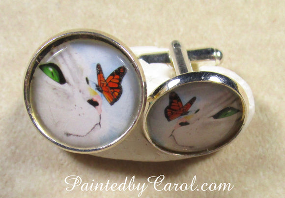 Gray Cat and Butterfly Cufflinks