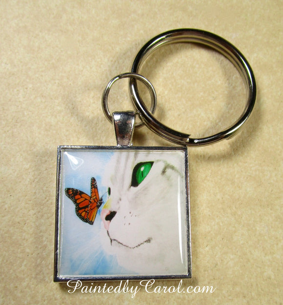 Gray Cat and Butterfly Keychain