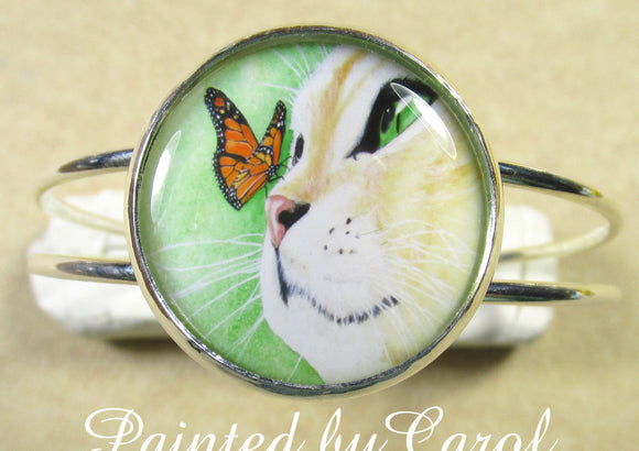Yellow Cat and Butterfly Cuff Bracelet