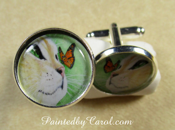 Yellow Cat and Butterfly Cufflinks
