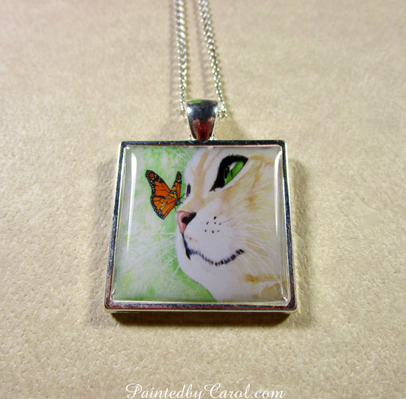 Yellow Cat and Butterfly Pendant