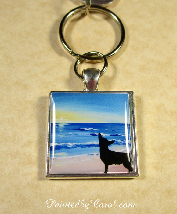 Chihuahua On Beach Keychain