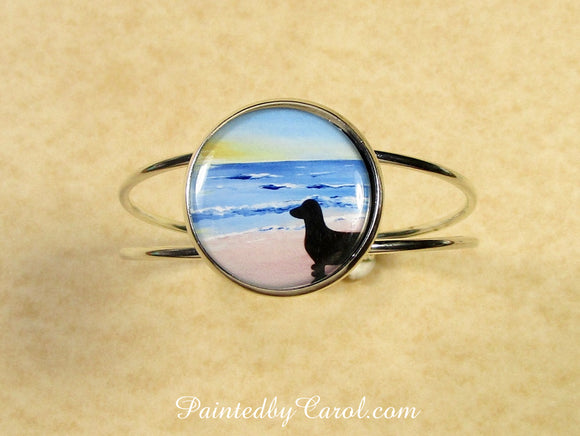 Dachshund On Beach Cuff Bracelet