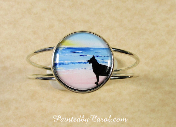 Belgian Malinois On Beach Cuff Bracelet