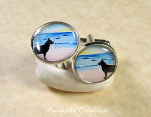 Belgian Malinois On Beach Cufflinks
