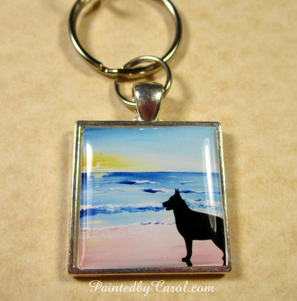 Belgian Malinois On Beach Keychain