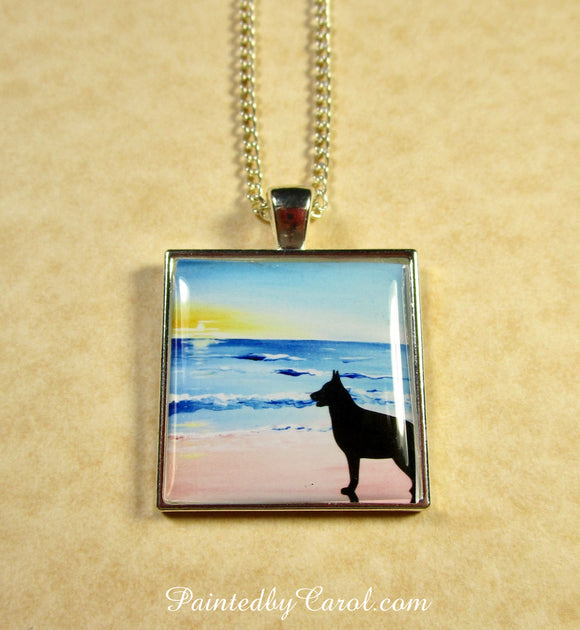 Belgian Malinois On Beach Pendant
