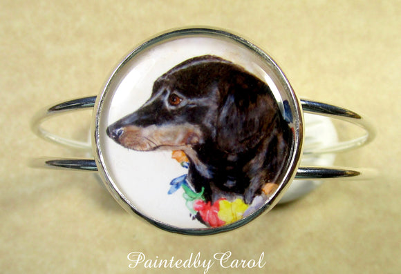 Black and Tan Dachshund Cuff Bracelet