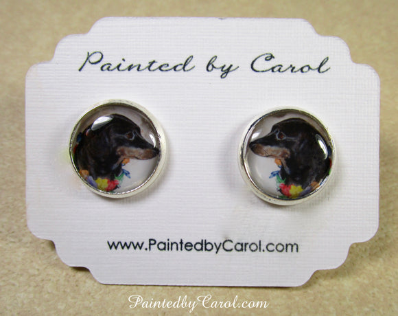 Black and Tan Dachshund Earrings