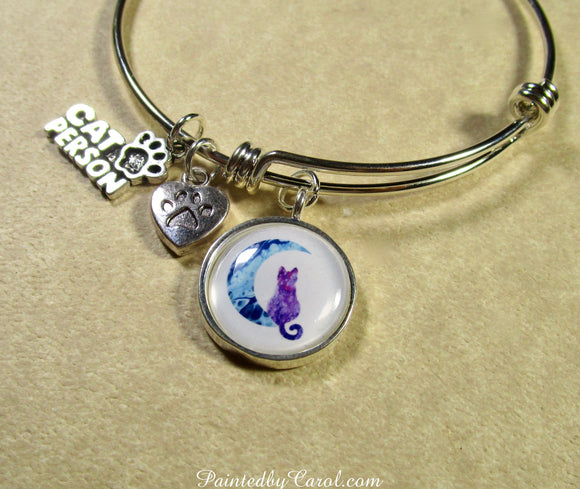 Purple Cat on the Moon Bangle Bracelet