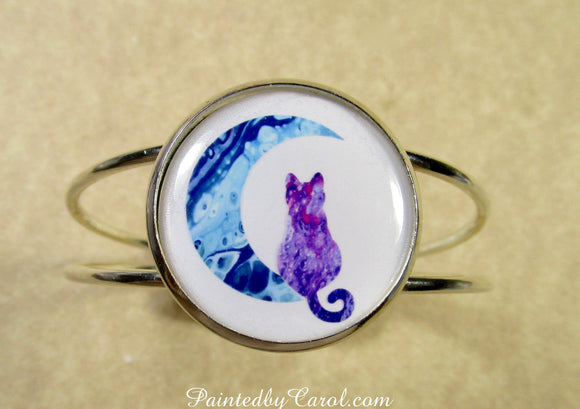 Purple Cat on the Moon Cuff Bracelet