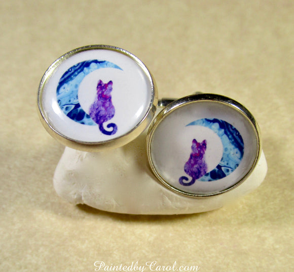 Purple Cat on the Moon Cufflinks