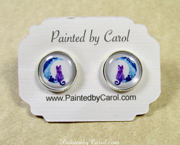 Purple Cat on the Moon Earrings