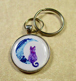 Purple Cat on the Moon Keychain