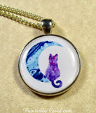 Purple Cat on the Moon Pendant