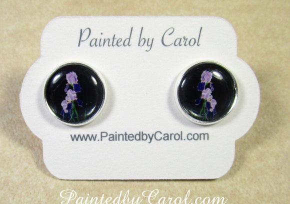 Purple Bearded Iris Earrings