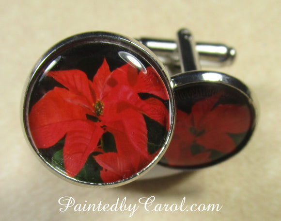 Red Poinsettia Cufflinks
