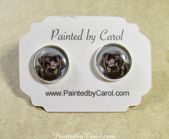 Black Labrador Retriever Puppy Earrings