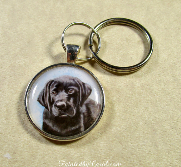 Black Labrador Retriever Puppy Keychain