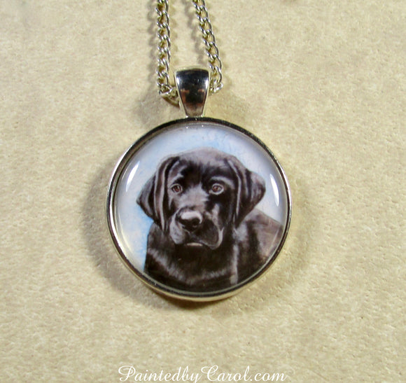Black Labrador Retriever Puppy Pendant