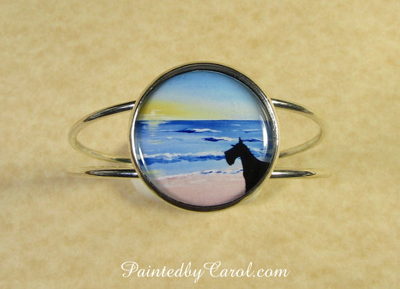 Schnauzer On Beach Cuff Bracelet