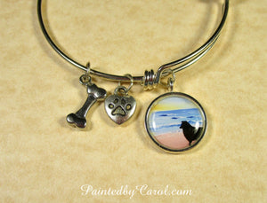 Sheltie On Beach Bangle Bracelet