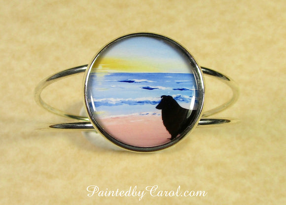 Sheltie On Beach Cuff Bracelet