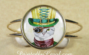 Steampunk Cat Cuff Bracelet