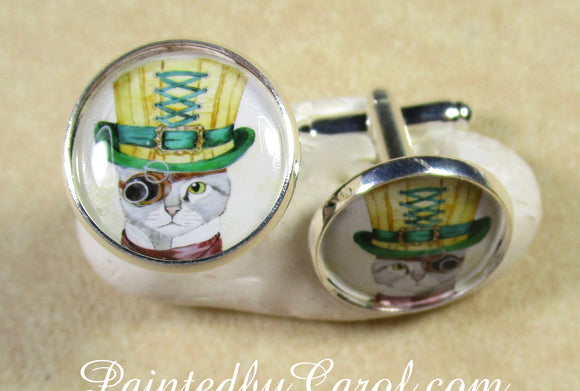 Steampunk Cat Cufflinks