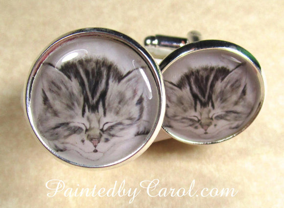 Gray Tabby Kitten Cufflinks
