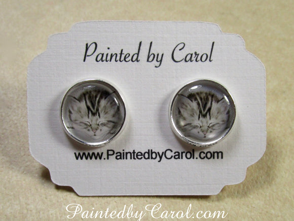 Gray Tabby Kitten Earrings