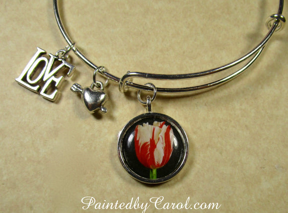Red and White Tulip Bangle Bracelet