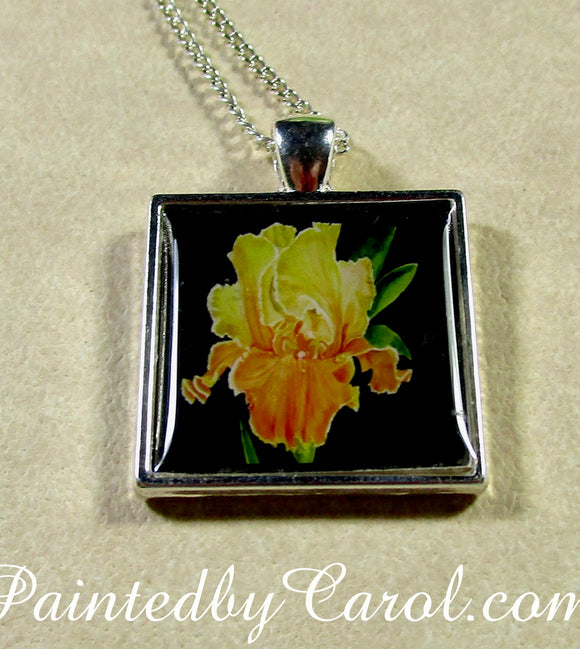 Yellow Bearded Iris Pendant