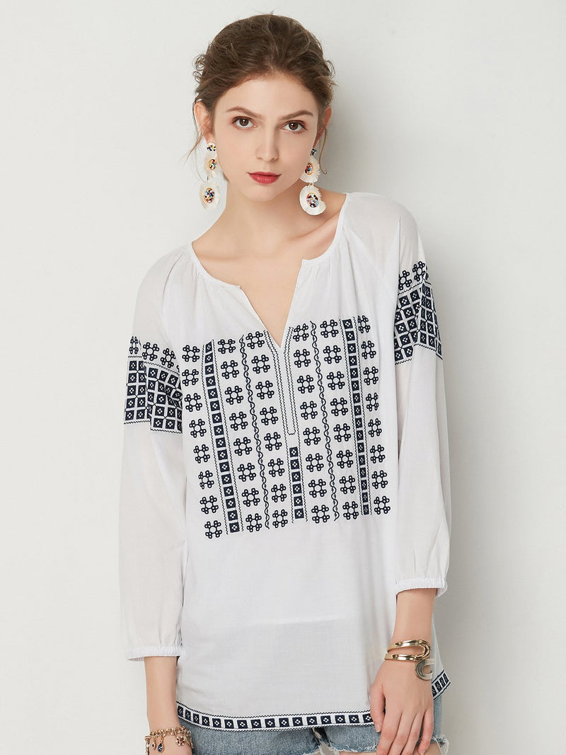 Embroidered Color Block V Neckline Long Sleeve Blouses - Luckinchic - LuckinChic.com