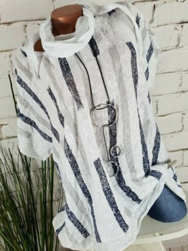 Striped Short Sleeve Round Neck Blouse