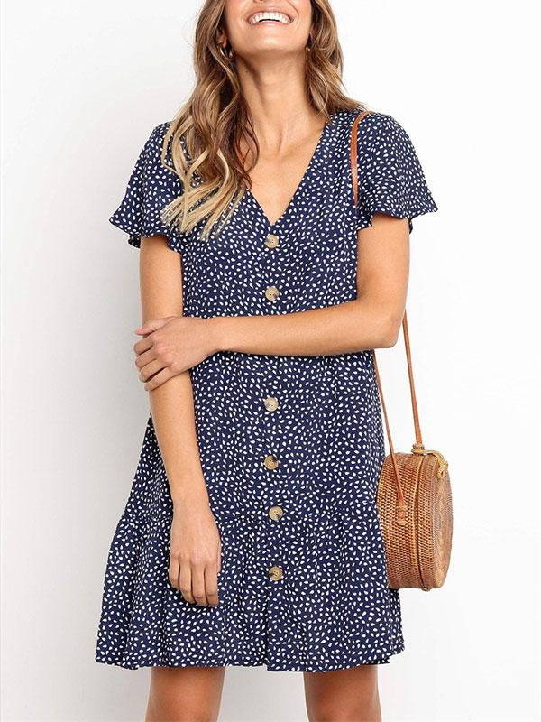 Casual Sexy Deep V Neck Polka Dot Short Sleeve Mini Dresses