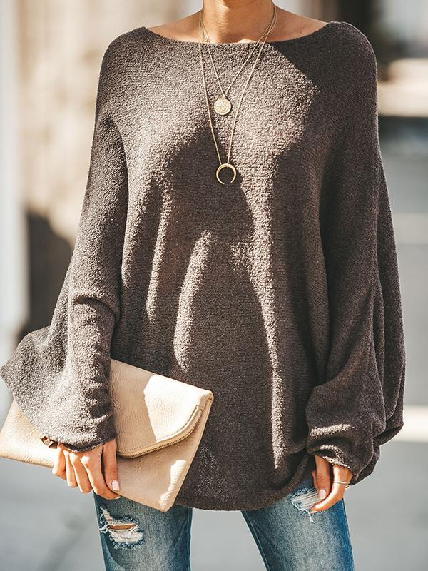 Casual Batwing Sleeve Plain Knitwear