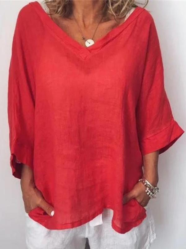 Casual Solid V Neck 3/4 Sleeve Blouses