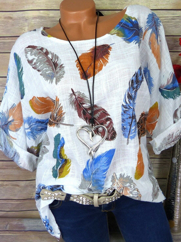 Round Neck Patchwork Feather Printed Blouses