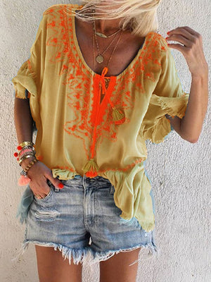V Neck Boho Embroidered Half Sleeve Blouse