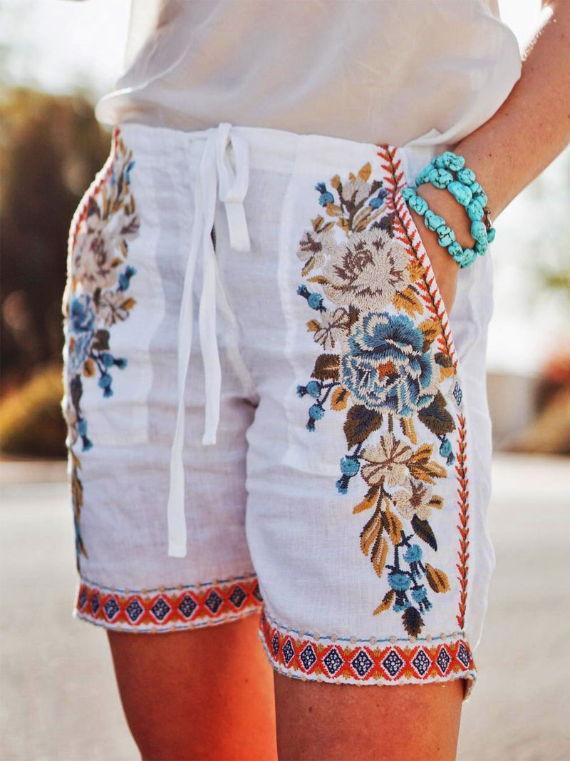 Bohemian Floral Embroidered Drawstring Waist Shorts