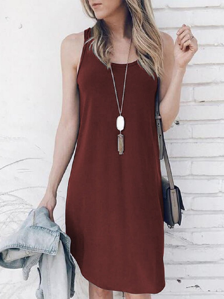 Daily Casual Shift Crew Neck Solid Sleeveless Midi Dress
